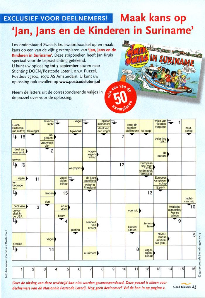 Gossepuzzels zweeds kruiswoordraadsel